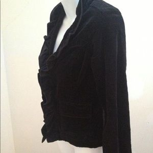 Free People Black Velvet Ruffled Jacket